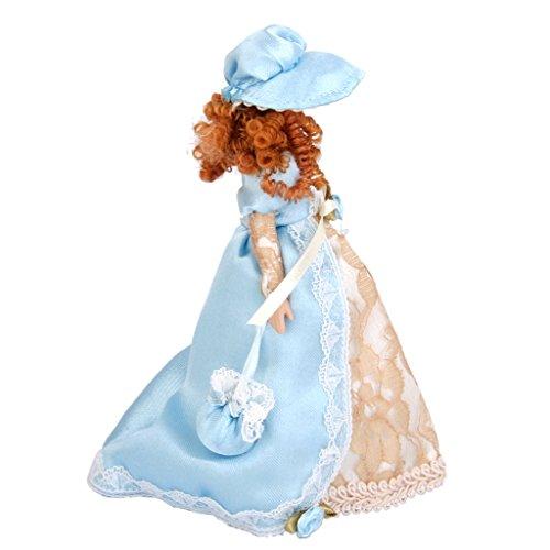 Dollhouse Bambole Di Porcellana In Miniatura Donna Vittoriana In Abito E Cappello Con...