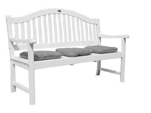 Utah Gartenbank 3-Sitzer mit ausklappbaren Tisch / Sitzbank / Holzbank / weiß