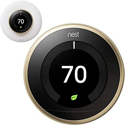 Google Nest Learning Smart Thermostat - 3rd Generation Bundle with elago Wall Plate Upgraded Wall Mount Cover Designed for Google Nest Learning Thermostat - Matte White