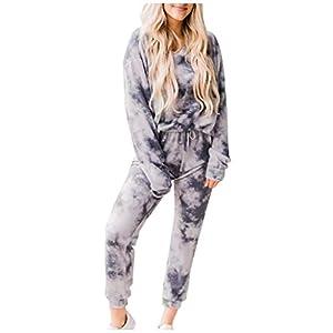 Corlidea Damen Batik-Anzug Langarm Tasche Freizeit Hosen Homewear Sets