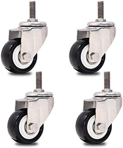 AZWE Ruedas giratorias 4X, ruedas para muebles de 1.5/2 , ruedas para troncos, ruedas con soporte de flores, ruedas para piso duro, ruedas para aparatos, con freno, sin óxido, silenciosas para mue