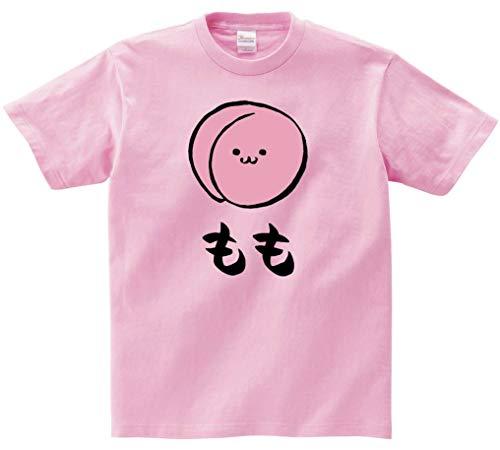 もも モモ 桃 野菜 果物 筆絵 イラスト カラー おもしろ Tシャツ 半袖 ピンク L