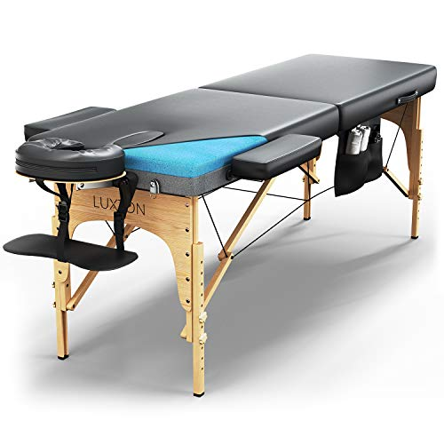 Luxton Home Premium Memory Foam Massage Table - Easy Set Up - Foldable & Portable with Carrying Case