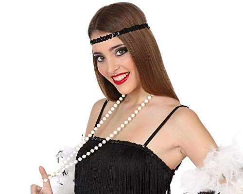 Atosa-49191 Atosa-49191 - Accessorio per Travestimento Anni 20, Cabaret e Mafia, Collana da 57 cm, Unisex, 49191, Colore: Bianco