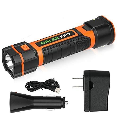 GALAX PRO Linterna LED Recargable,Impermeable IP65, USB y Cable de Cargador, Batería Recargable, Perfecta para Camping, Montañismo, Pesca Nocturna