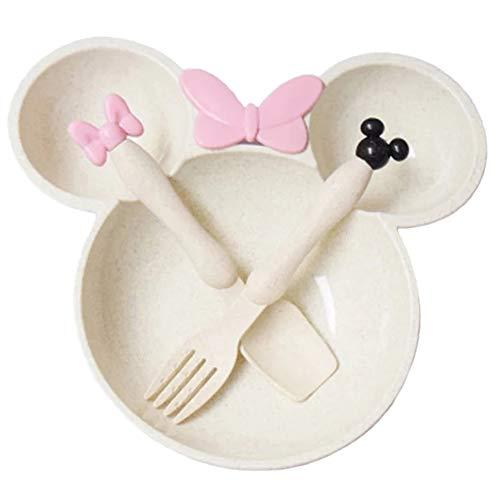 Juego de 3 piezas Minnie Mickey en forma de bebé para niños y bebés, crema de comida para niños