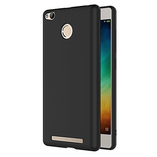 AICEK Funda Xiaomi Redmi 3 Pro/Redmi 3S, Negro Silicona Fundas para Redmi 3 Pro Carcasa Redmi 3S (5,0 Pulgadas) Negro Silicona Funda Case