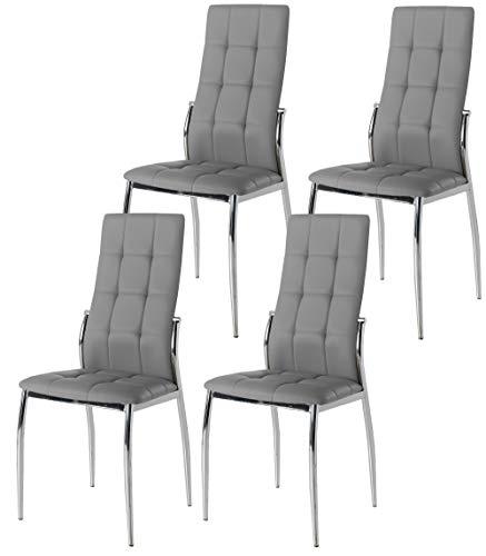Miroytengo Pack 4 sillas Comedor Laci Color Gris Polipiel Salon Estilo Moderno Cromado 101x51x45