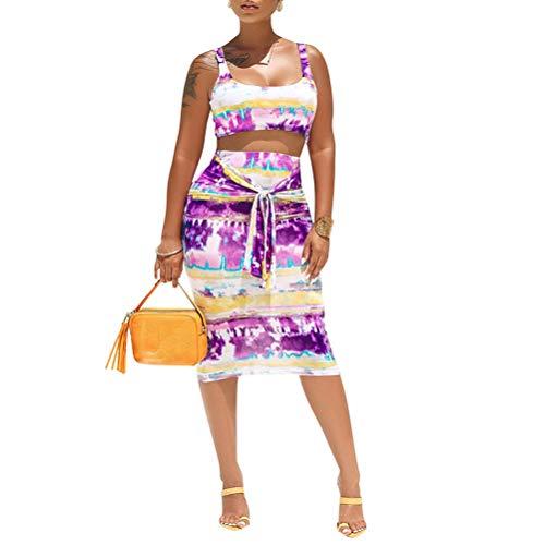 Womens Sexy Tie Dye Print Tanks Crop Top Bandage Bodycon 2 Pieces Long Midi Pencil Dresses Outfits Skirt Set Purple M