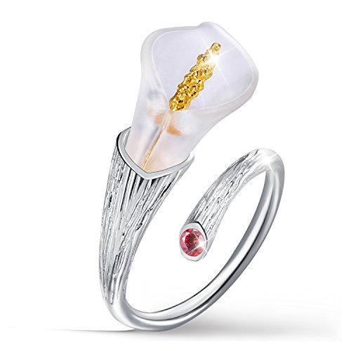 Anillo abierto de plata de ley 925 con diseño de flor de loto, hecho a mano, regalo único para mujeres y niñas 7.5 rojo