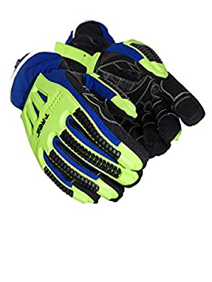MAGID TRX614W Arctic Windstorm Series Impact Gloves | ANSI A2 Cut Resistant Winter Thermal Safety Work Gloves with Membrane, Blue/Green, Size 10/XL (1 Pair)
