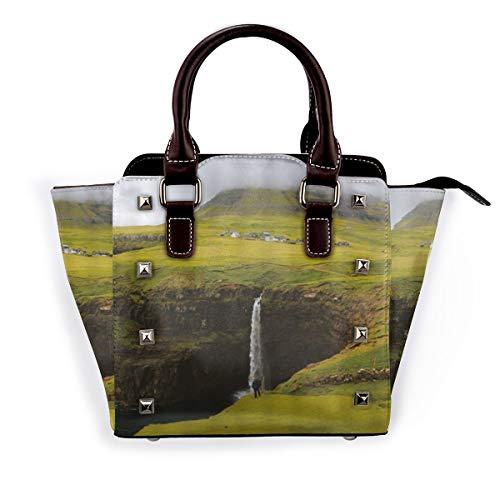 BROWCIN Natur Seltene Hochebene Wasserfall Landschaft Deep Valley Wasserfall Hochland Weide Zelt Bauernhaus Nebel Abnehmbare mode trend damen handtasche umhängetasche umhängetasche
