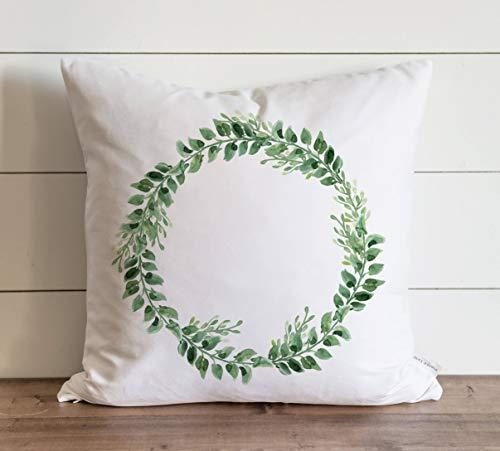 Promini Funda de almohada de corona verde para regalo diario, funda de almohada con cierre de cremallera oculto, para sofá, banco, cama, decoración del hogar, 60 x 60 cm