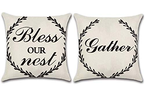JOJUSIS Farmhouse Outdoor Pillow Covers Decorative Waterproof Pillowcases 16 x 16 Inch Set of 2 Bless Our Nest & Gather
