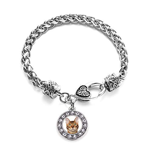 Inspired Silver - Bengal Cat Braided Bracelet for Women - Silver Circle Charm Bracelet with Cubic Zirconia Jewelry