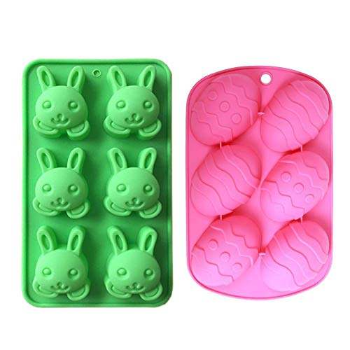 MoldFun 2 Pack Easter Day Bunny & Egg Cake Pan Silicone Molds for Baking Cupcake Muffin Making Chocolate Candy Ice Cube Jello Jelly Soap Wax Crayon Melt