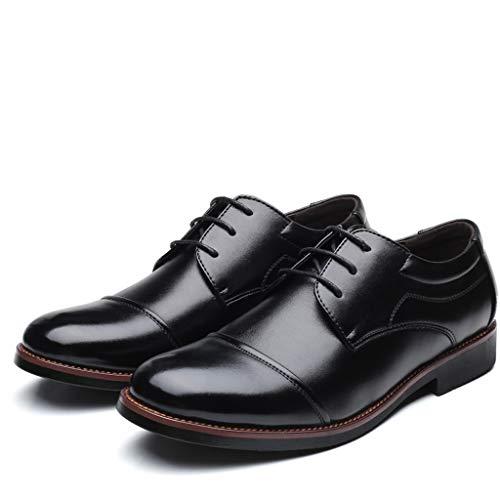 Herren Business Anzugschuhe Oxfords Feine Lederschuhe,Vintage Schnürhalbschuhe Lederschnürsenkel Schwarz Mode Männer Business Hochzeit Schuhe Abendkleid (43 EU, Schwarz)