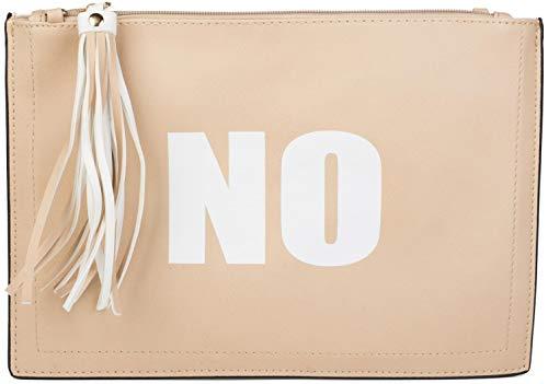 styleBREAKER pochette con stampa 'SI' e 'NO', ciondolo con nappa sulla cerniera, cinturino per mano e tracolla, da donna 02012078, colore:Beige/Bianco