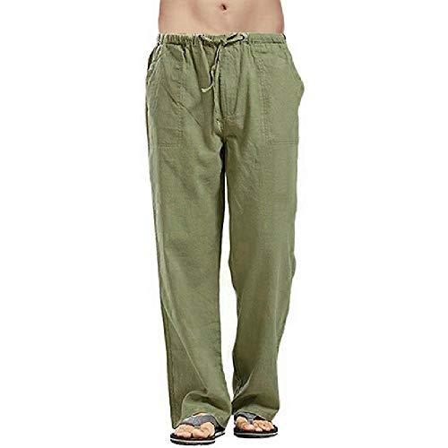 Pantalones de los hombres de algodón de lino con cordón de cintura pantalones sólidos de gran tamaño pantalones casuales