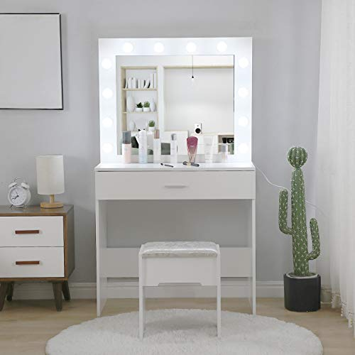 Vanity Desk with Lights Mirror and Bench, Dressing Makeup Table w/Drawers and Chair, Bedroom Decor Vanity Sets for Kids Girls Birthday (White)