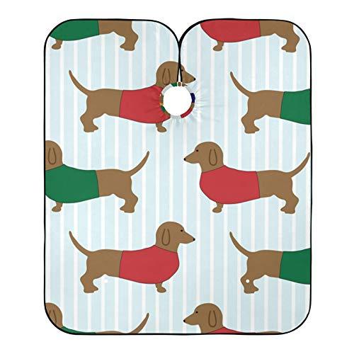 Cabo de peluquero salchicha con patrón de perro de salchicha de corte de pelo impreso, babero de afeitar para el salón de casa y peluquería