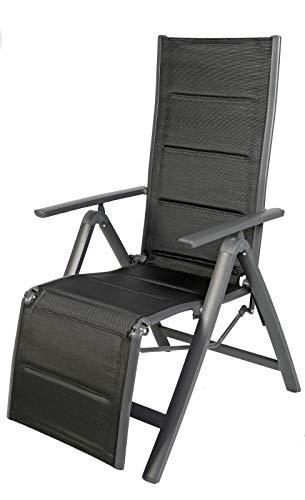 Mojawo Comfort Gartenstuhl - Relaxsessel 6-Fach verstellbar - zusammenklappbar - gepolstert - witterungsbeständiges Aluminium