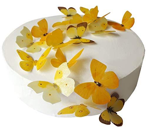 24 X PRE-Cut Beautiful Medium Yellow Butterflies Edible Rice/Wafer Paper PRE Cut Cupcake Cake Dessert Toppers Birthday Party Wedding Baby Shower Decorations (Medium)