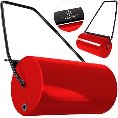 KESSER® - Rasenwalze 60cm 48l Füllvolumen Metall mit Schmutzabweiser Handwalze Rasenroller Gartenwalze Ackerwalze Walze befüllbar mit Wasser/Sand 60 kg Rot