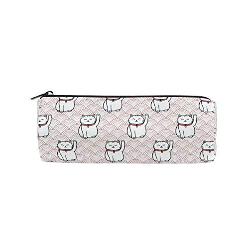 Bonie - Estuche japonés con diseño de gato de la suerte, estuche para lápices, estuche escolar para artículos de papelería, estuche con cremallera para cosméticos