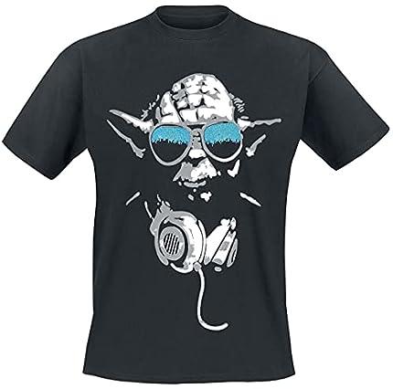 Star Wars DJ Yoda Cool Camiseta Negro Hombre