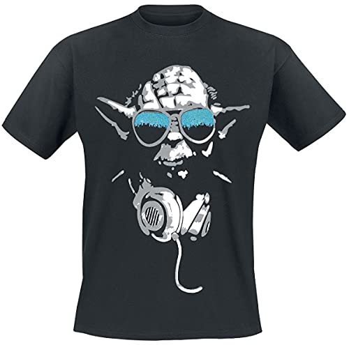 Star Wars DJ Yoda Cool Camiseta, Negro, Small para Hombre