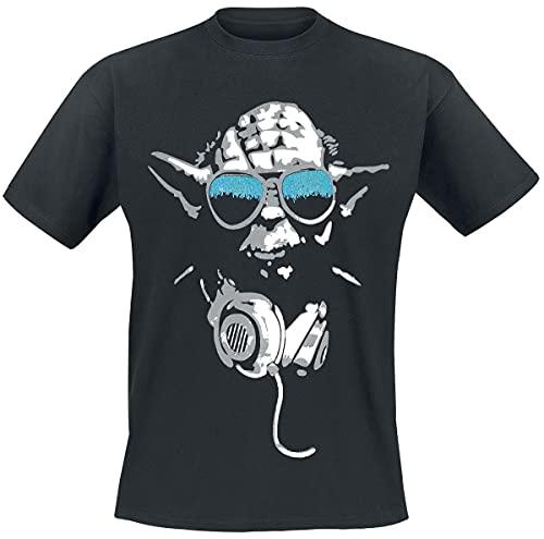 Star Wars DJ Yoda Cool Camiseta, Negro, X-Large para Hombre