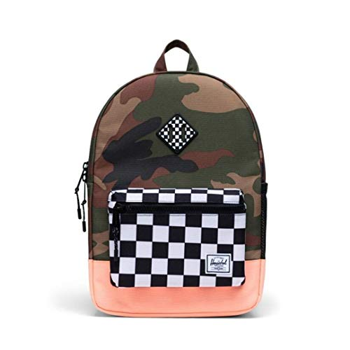 "Herschel Kids Youth Heritage 16L Back Pack - Woodland Camo/Black & White Checker/Neon Orange size 15.5""H x 10.5""W x 4.5""D"