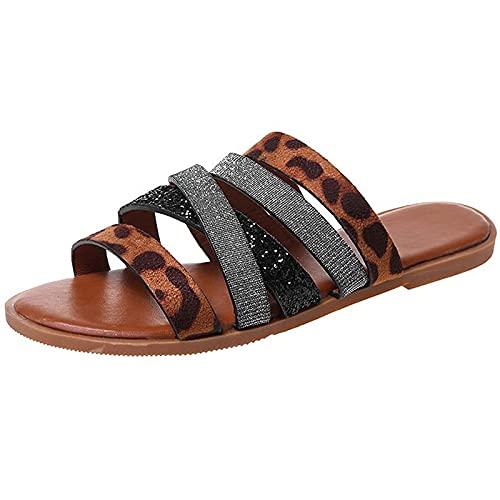 GOKOMO-A Sandales Femme éTé Grandes Sandales De Plage Confortables à Bout Ouvert BohèMe DéContracté Mode Pas Cher