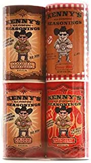 Kenny's All Purpose Seasonings 15 ounce Gift Set Original/Cajun/Texas Burn/Honey BBQ 4 pack (4 15 ounce containers)