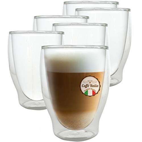 Caffé Italia Milano 6 x 250 ml szklanki z podwójnymi ściankami – szklanki termiczne do cappuccino herbaty gorących i zimnych napojów – nadają się do mycia w zmywarce