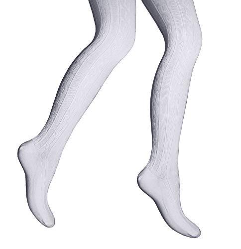 Weri Spezials Damenstrumpfhosen Tracht Zopfmuster Volk Tanzstrumpfhosen ökologische Baumwolle mit Komfortzwickel (54/56, Weiß)