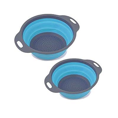 2 Pack Kitchen Food-Grade Silicone kitchen Strainer Space-Saver Folding Strainer Colander-Blue by wxhbear