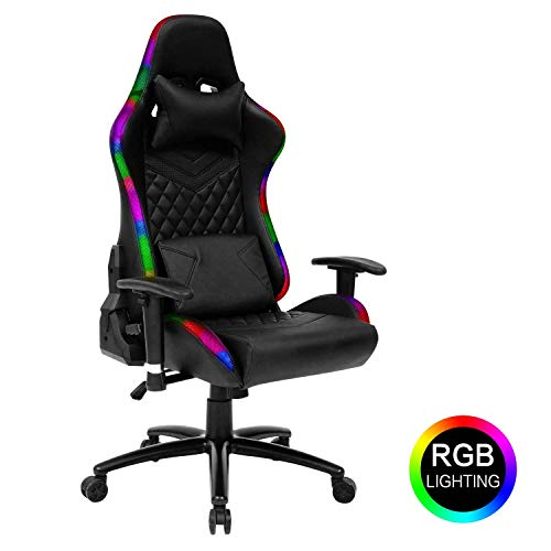 Modern-Depo High-Back Ergonomic Gaming Chair with RGB LED Lights, Headrest, Lumbar Support, Height Adjustable Swivel Recliner Office Desk Chair black chair gaming