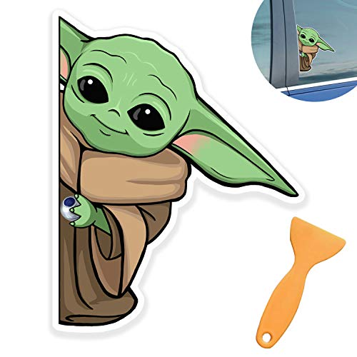 Peeking Baby Yoda Decal Window Waterproof Sticker for Car,Home Decor Wall Car Glass Decal Sticker Cling with Window Scraper (Right)