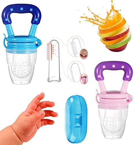 Alimentador Antiahogo Bebe | Pack 2 unidades Mordedor y Cepillo Dientes Bebe Dedo | Chupete Fruta Bebe | Mordedores Bebe Cepillo Bebe Sonajeros Bebe (Rosa)