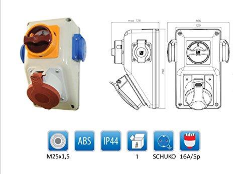Baustromverteiler/Wandverteiler mit Wendeschalter für Rechts- und Linkslauf 1 x CEE 16A + 2 x 230 V/16A verdrahtet
