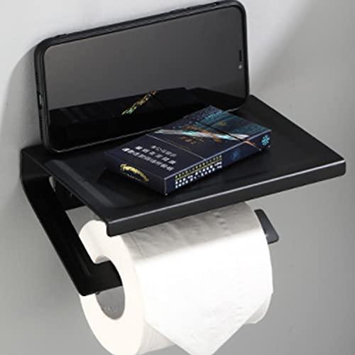 Portarrollos de papel higiénico con estante, acero inoxidable, sin agujeros, soporte de papel higiénico de aluminio, autoadhesivo o montaje en pared, inoxidable, para cuarto de baño, cocina (negro)