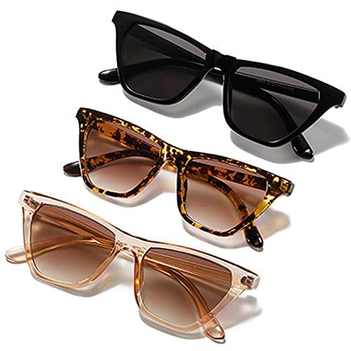 DUOXIN 3 piezas Gafas de sol Rectangulares, Protección UV400 Gafas de Sol Ojo de Gato Retro Moda Gafas Pequeñas Gafas de Conducción para Mujer (Negro/Marrón/Carey)