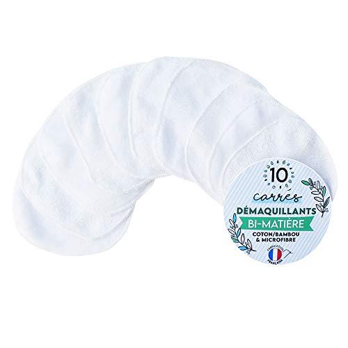 *10 Carrés Démaquillants Lavables, Bi-matière* : Coton/BAMBOU & Microfibre - Fabrication Française : Soutenez vos entreprises locales - écologiques et réutilisables - 10x10cm