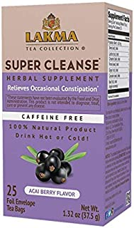 Lakma Wellness Super Cleanse Tea Acai Berry Flavor - 25 Tea Bags (Caffeine Free, Gmo Free, Gluten Free, Dairy Free, Sugar ...