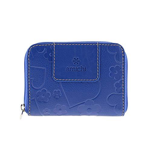 Monedero Cremallera Piel Corazones Amichi Talla: U Color: Azul
