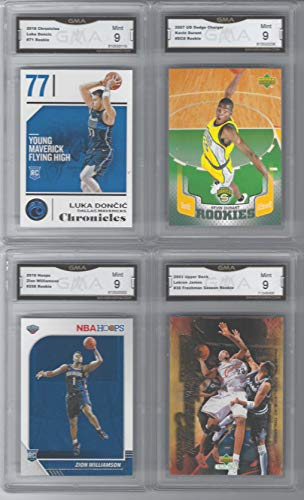 Luka Doncic Paninin Chronicles Kevin Durant Lebron James Upper Deck Rookie & Zion Williamson Hoops Rookie 4 Card Rookie Lot Graded Mint 9
