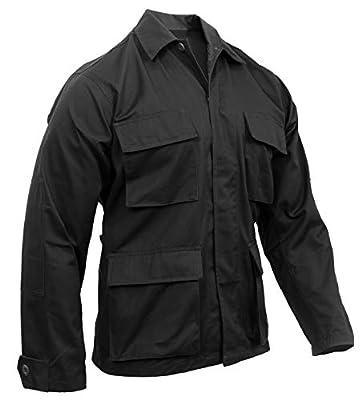 Rothco Solid BDU (Battle Dress Uniform) Military Shirts, Black, S