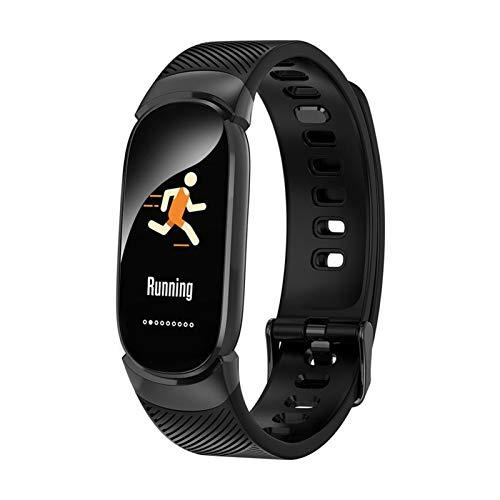 GYY Nuevo Reloj Inteligente Hombres Monitoreo De Tarifas Cardíacas Bluetooth SmartWatch Mujeres Deportes IP68 Pulsera Inteligente Impermeable para Android iOS (Color : Black)